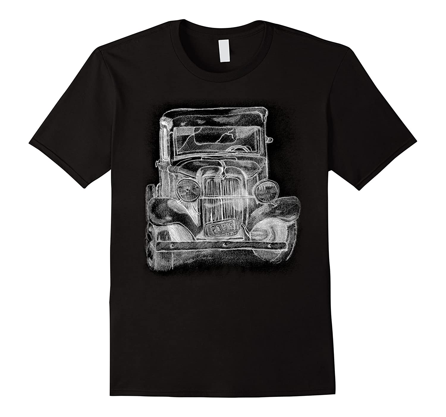 Old Vintage Hot Rod Truck Pencil Sketch Hand Drawing T Shirt