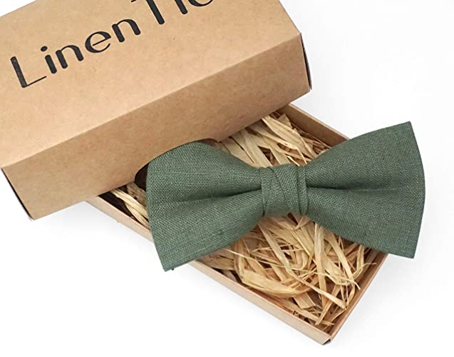 aaa05a277e53 Pine green pretied wedding bow tie for groomsmen made from eco-friendly  linen, forest green rustic bow ties for men, stocking stuffer, forest green  toddler ...