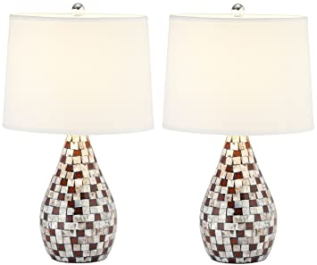 Safavieh Lighting Collection Lauralie Brown Capiz Shell 19.25 Inch Table  Lamp (Set Of 2