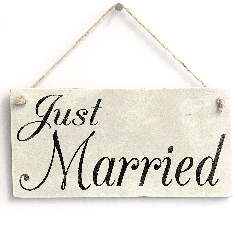 Just Married–Sign/regalo di nozze per sposi wedding photo Prop, da appendere 10,2x 20,3cm WhyNo