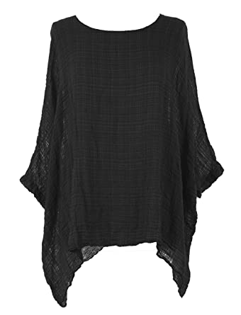 5c80c76ce1a TEXTURE Ladies Women Italian Lagenlook Plain Batwing Short Sleeve Textured  Kaftan Tunic Top Blouse One Size (Black, One Size) at Amazon Women's  Clothing ...