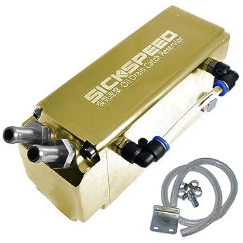 24 K oro aluminio race Racing Turbo motor Depósito de línea de aceite Catch Can tanque/P1 para Hyundai Genesis Coupe: Amazon.es: Coche y moto