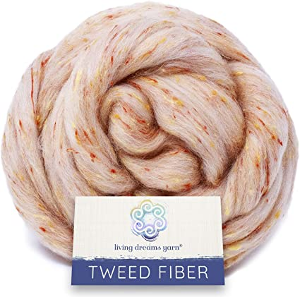 Blending and Dyeing Tweed Effect Fiber for Spinning Combed Top Roving Super Soft Wool /& Viscose Blend Heathcliff Felting