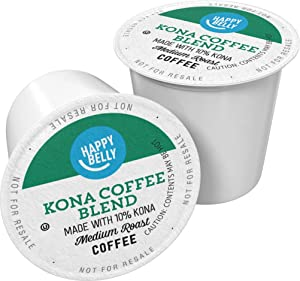 Amazon Brand - 100 Ct. Happy Belly Medium Roast Coffee Pods, Kona Blend, Compatible with Keurig 2.0 K-Cup Brewers