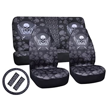 Universal Skull Car Seat Covers BlackampWhite Polyester Heavy Duty Protectors Soft And