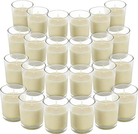 Belle Vous Unscented Clear Glass Filled Votive Candles 24 Pack 12 Hour Burn Time Clear Glass Holders With Hand Poured Warm White Wax Candles Ideal For Weddings Spas Aromatherapy Home Decor Amazon Co Uk Kitchen Home