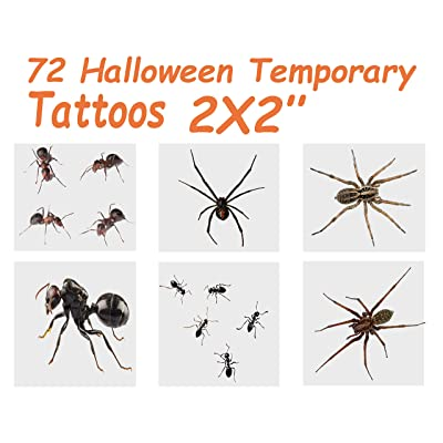 "72 Halloween Temporary Tattoos, Ants & Spiders, 6 Assorted Designs, ""The Best Halloween Spookiest Party Favor"" by 4E's Novelty: Health & Personal Care"