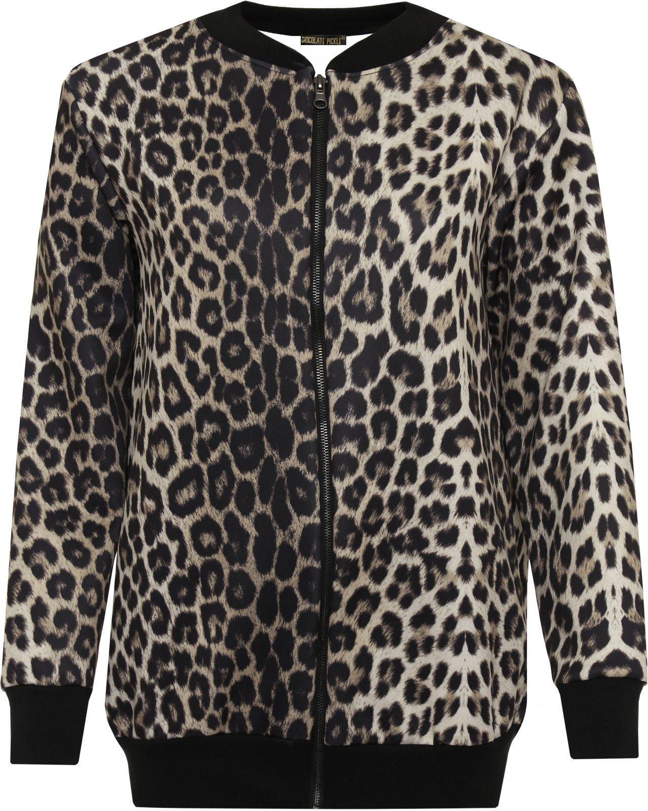 Chocolate Pickle New Ladies Leopard Print Ribbed Bomber Blazer Jacket Leopard Print 12