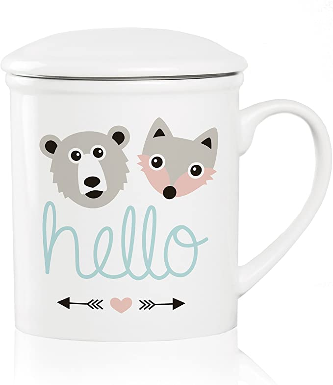 We Love Home filtro met/álico inox 25 cl estilo n/órdico modelo Rabbit Taza de t/é de porcelana con tapa