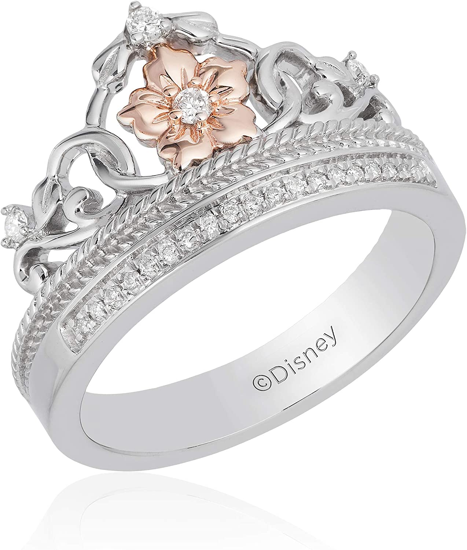 10k Yellow Gold Plated 925 Silver Multi-Stone Disney Princess Rapunzel Engagement Ring,Art Deco Halo Ring