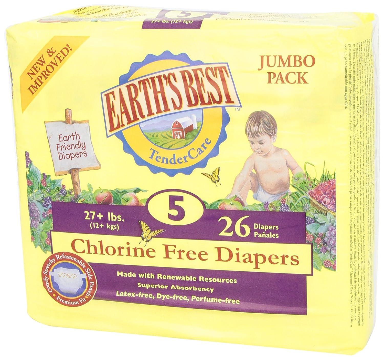 Earths Best,Tendercare, Pañales sin cloro, Tamaño 5, 27 +, 26 libras Pañales: Amazon.es: Salud y cuidado personal