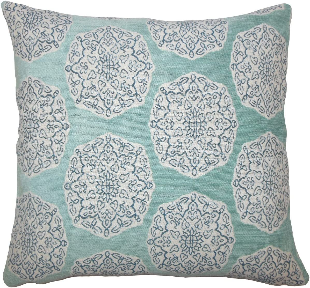 The Pillow Collection Quitzal Geometric Bedding Sham Turquoise Standard//20 x 26,