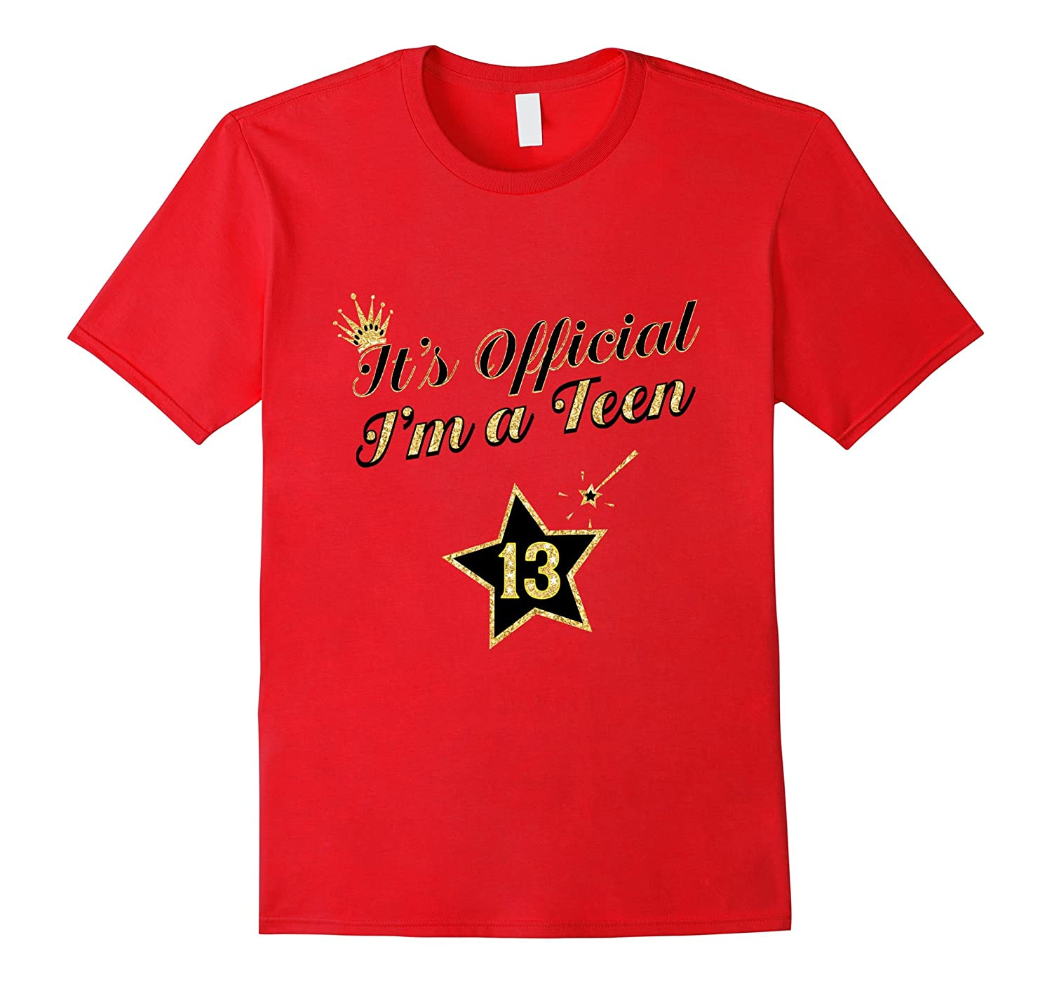 Black Gold Star Birthday Shirt For Girls 13 Gift-Vaci