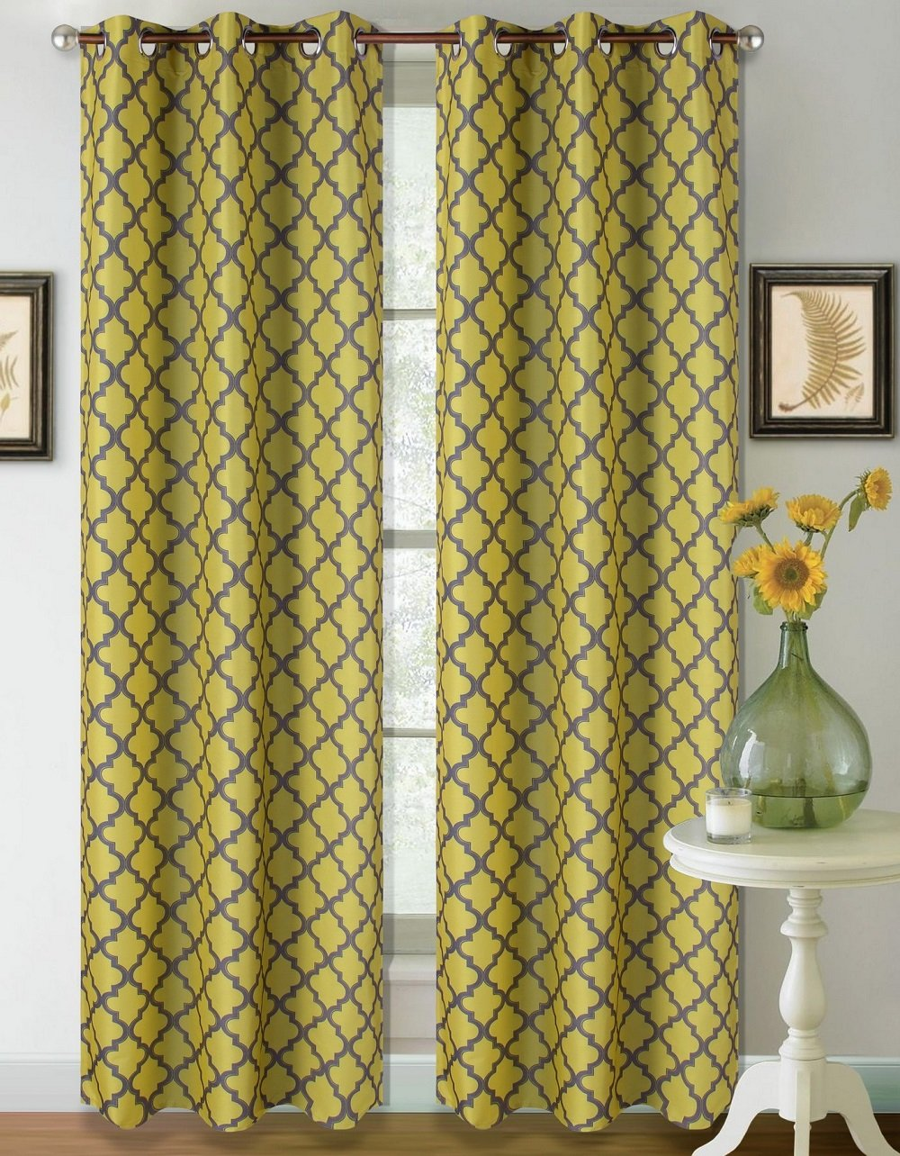 Heavy Thick Thermal Insulated Lined Blackout Window Curtain Drape Yellow Grey