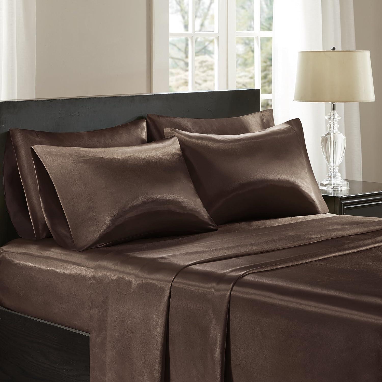 Madison Park Essentials Premier Comfort SHET20-505 Satin 6Piece Sheet Set Cal King Black