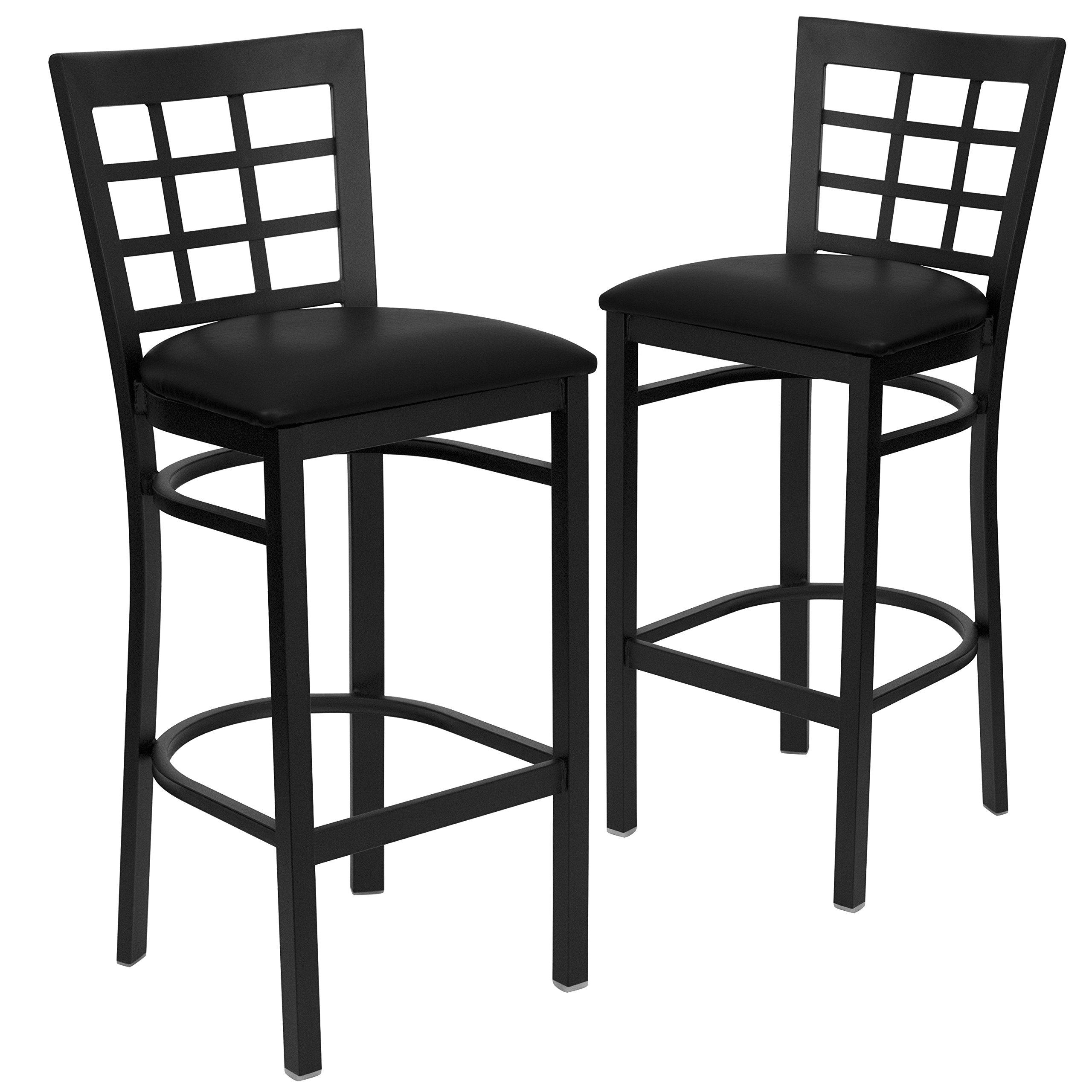 Flash Furniture 2 Pk. HERCULES Series Black Window Back Metal Restaurant Barstool - Black Vinyl Seat