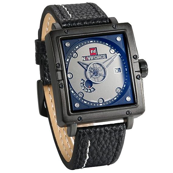 JewelryWe Grande Reloj Cuadrado Analógico Reloj de Hombre Correa de Cuero, Cuarzo Reloj Retro Vintage