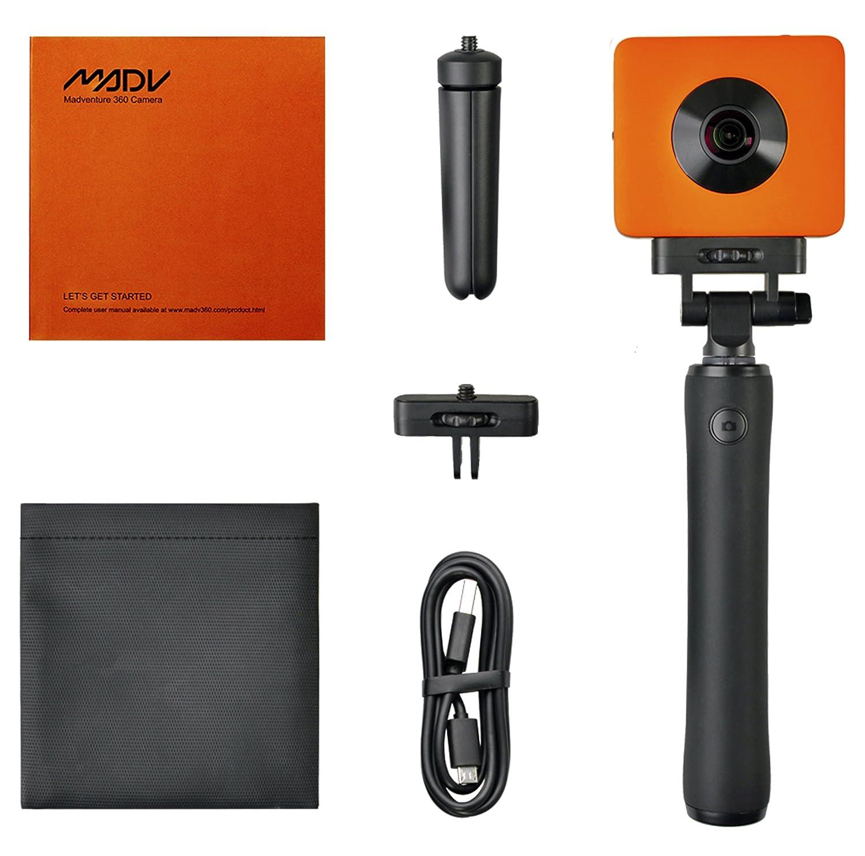 Madventure - Cámara de acción digital panorámica de 360°, vídeo 4K, foto de 24 MP, sensor Sony IMX 206, resistente al agua IP67, funda, selfie, ...