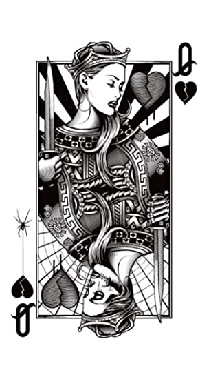 Amazoncom Playing Card Queen Of Hearts Black 825 Temporary
