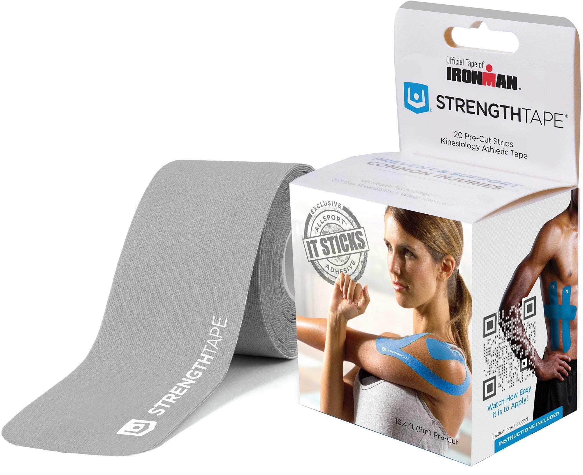 StrengthTape Kinesiology Tape - 16.'(5m) Roll of 10'' Precut Strips - Silver