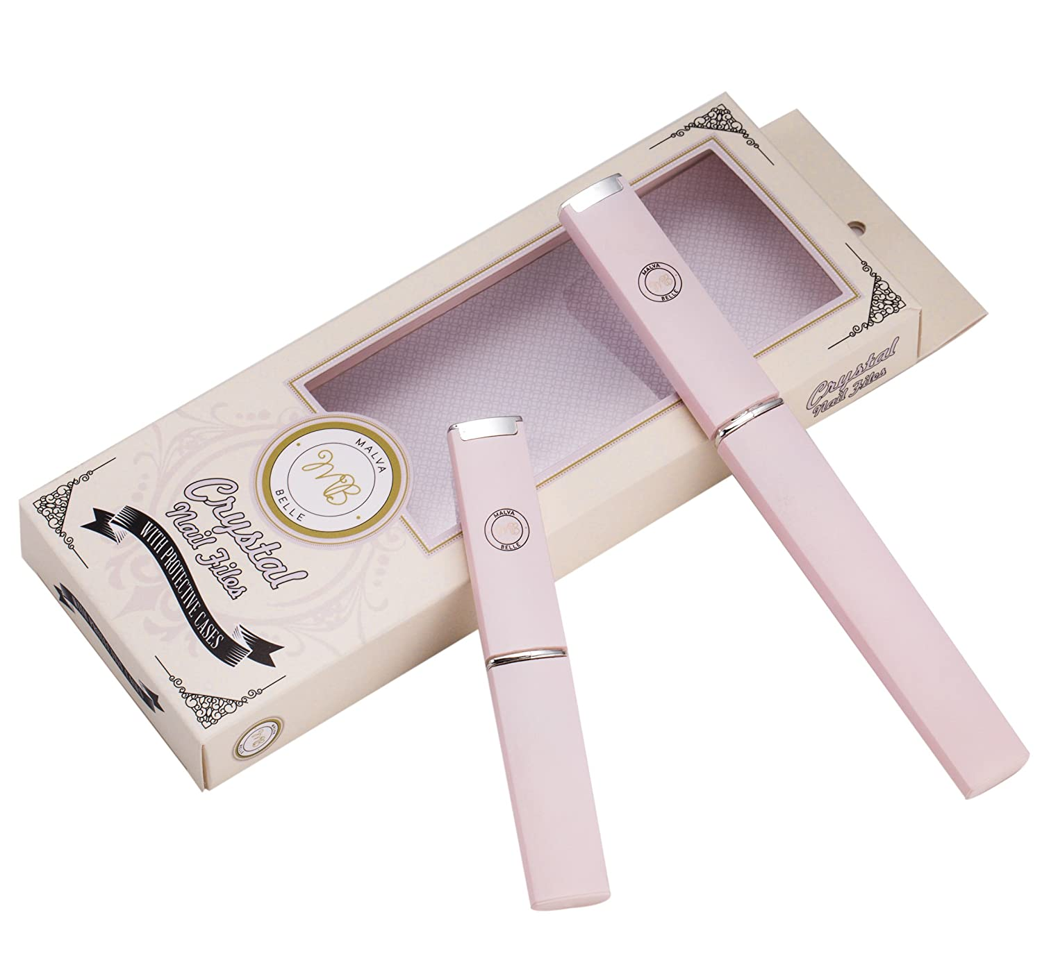 Best Crystal Nail File Set of 2 - Perfect for Women, Kids & Baby - Built to Last - Professional Manicure & Pedicure Kit - For Natural, Gel, Acrylic, Fake and Clear Nails - Extra slim design Malva Belle