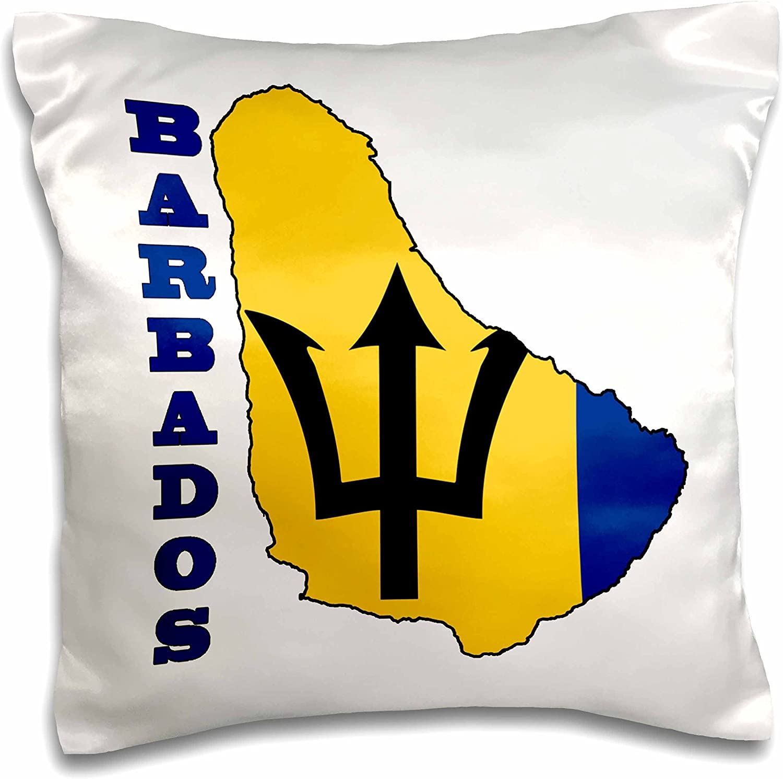 3dRose I Love Barbados Pillow Case 16 x 16