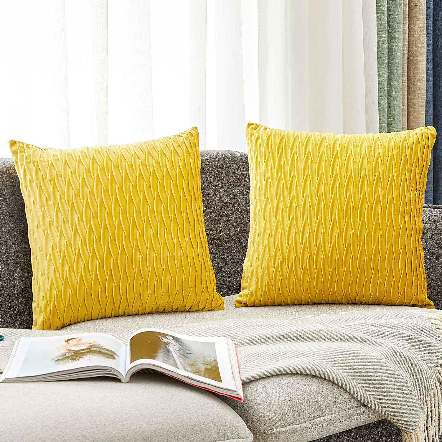 HOLLHOFF Mustard Yellow Throw Pillow Covers Decorative Striped Soft Velvet Square Cushion Case for Couch Living Room Sofa Home Decor Set of 2, 18 x 18 Inch (45cm) No Inserts