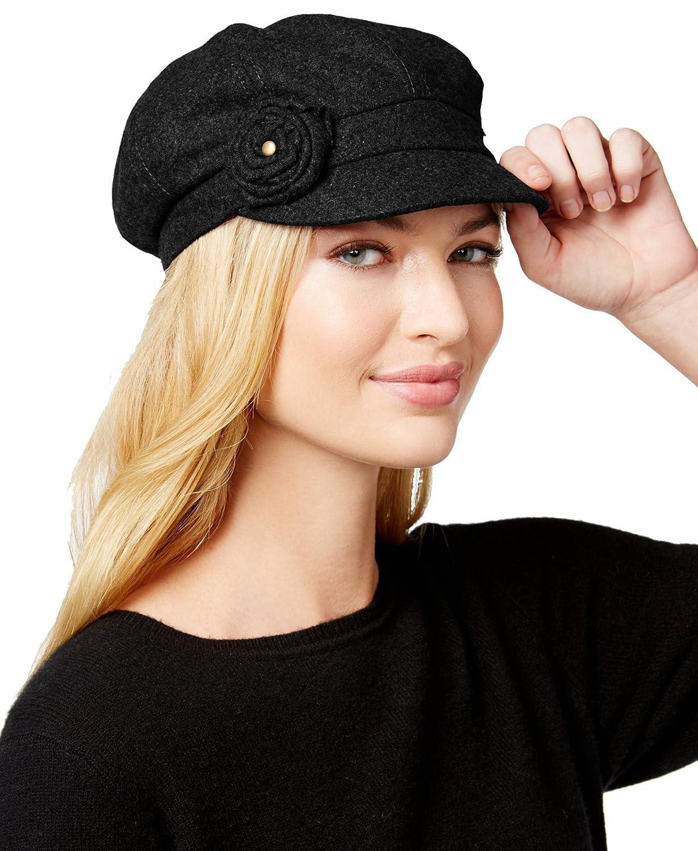 August Hats Women's Worth It Flower Newsboy Cap, Black, One Size
