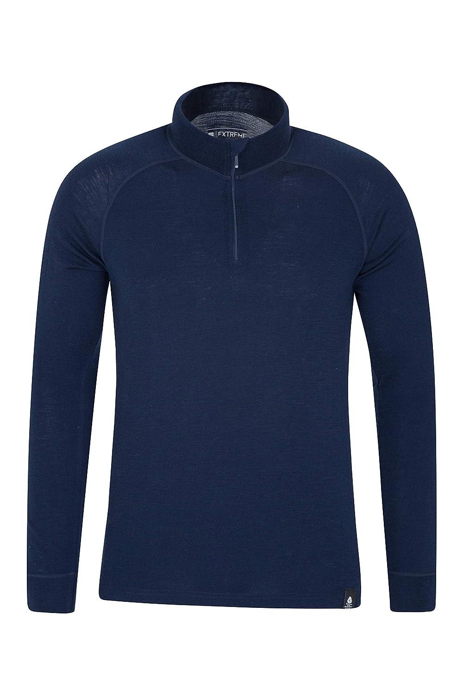 Mountain Warehouse Merino Langarm Baselayer-Thermotop f/ür Herren bequemes T-Shirt Ideal zum Campen Winter Baselayer Marineblau Small Atmungsaktives T-Shirt Halbrei/ßverschluss
