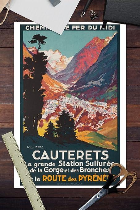 Amazon.com: Cauterets Vintage Poster (Artist: Cassiers) France c. 1937 (100% Cotton Tote Bag - Reusable): Posters & Prints