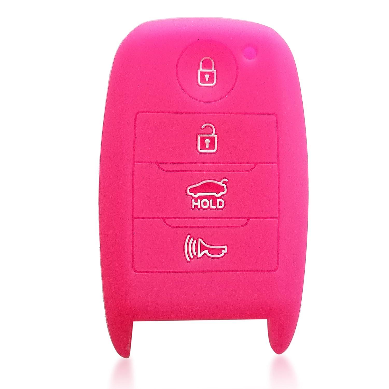 ドブレフ4ボタンシリコンケースキーFobプロテクターカバースマート車リモートホルダーfor Kia Optima ForteソレントR Rio ピンク 2125 B07B8Y98VM ピンク ピンク