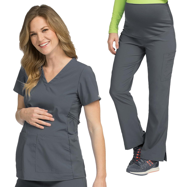 990165ff5ba Amazon.com: Med Couture Maternity Scrub Top & Maternity Scrub Pant Set [XS  - 3XL]: Clothing