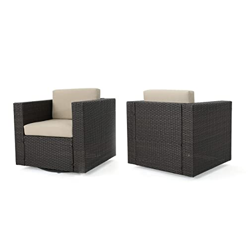 Christopher Knight Home Venice Outdoor Wicker Swivel Club Chair Water Resistant Cushions Set of 2, Dark Brown Beige