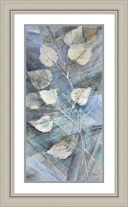 Framed Wall Art Print Silver Leaves I by Albena Hristova 19.75 x 31.75 in.