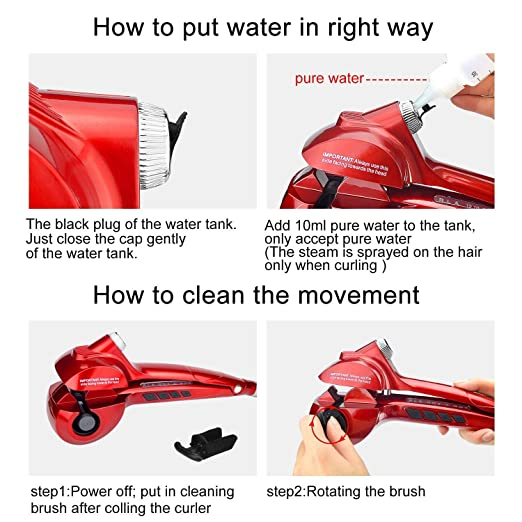 Amazon.com: Automatic Hair Curler Ceramic Curling Iron Wand Salon Rollers Hair Care Steamer Spiral Tools (red): Beauty