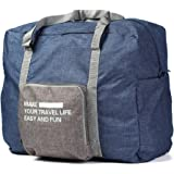 XDJ Life ボストンバッグ トラベルバッグ 折り畳み式 機内持ち込み可 タブルポケット キャリー付き 撥水加工 大容量 収納 整理 旅行グッズ (ネイビー)