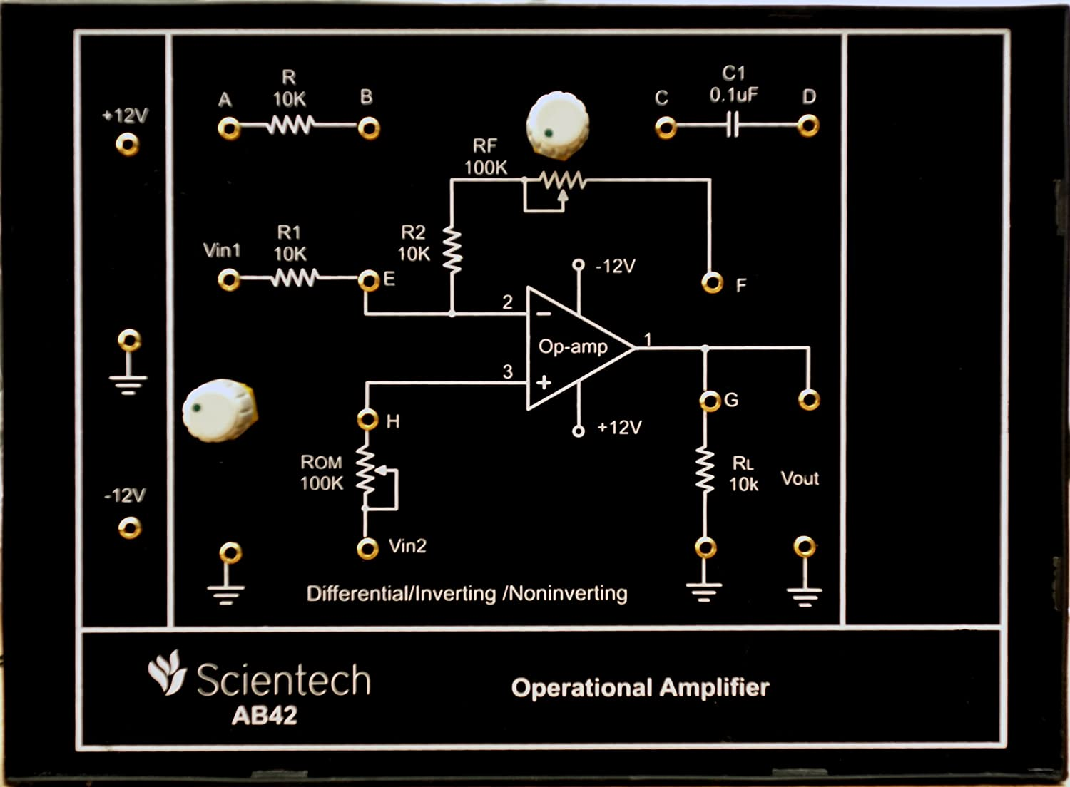 Ab42 Operational Amplifier Inverting Non Block Diagram Differentiator Experiment Board And Trainer Kit With 1 Year Warranty Without Power Supply