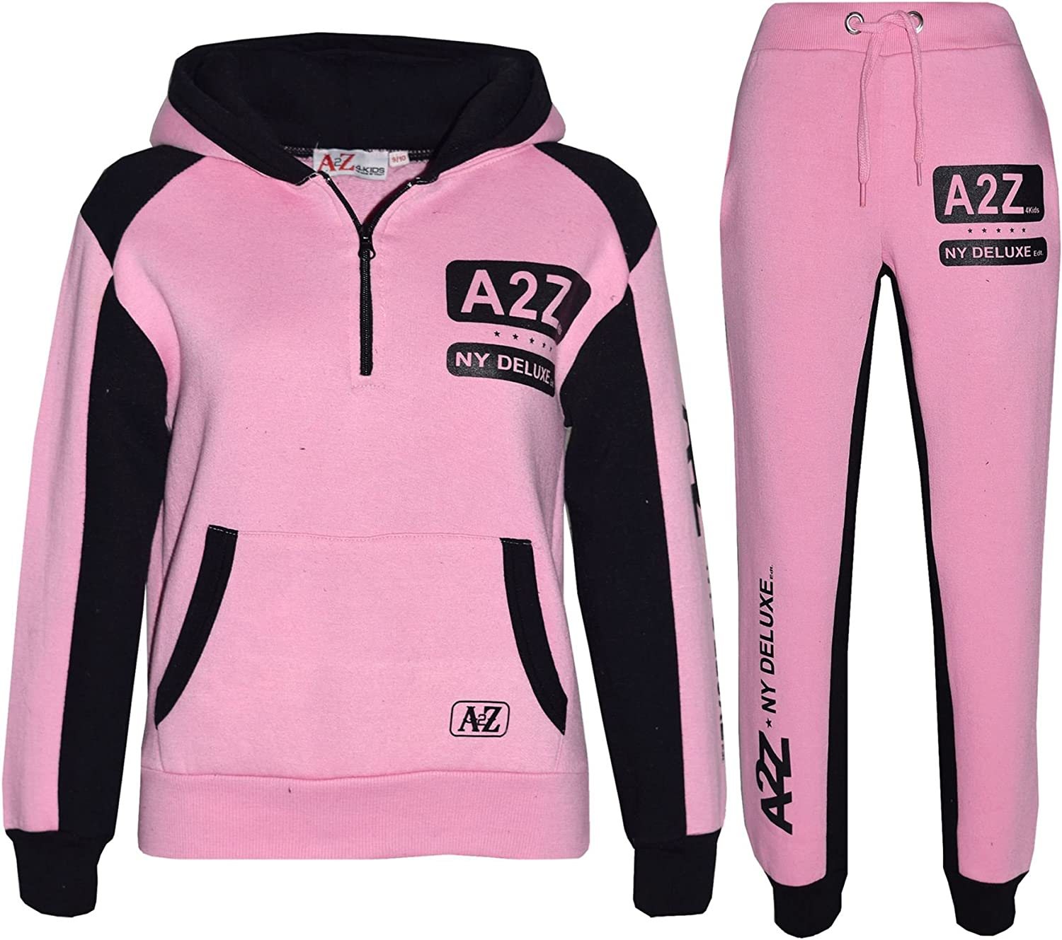 Kids Jogging Suit Boys Girls Designers Tracksuit Zipped Top /& Bottom 5-13 Years
