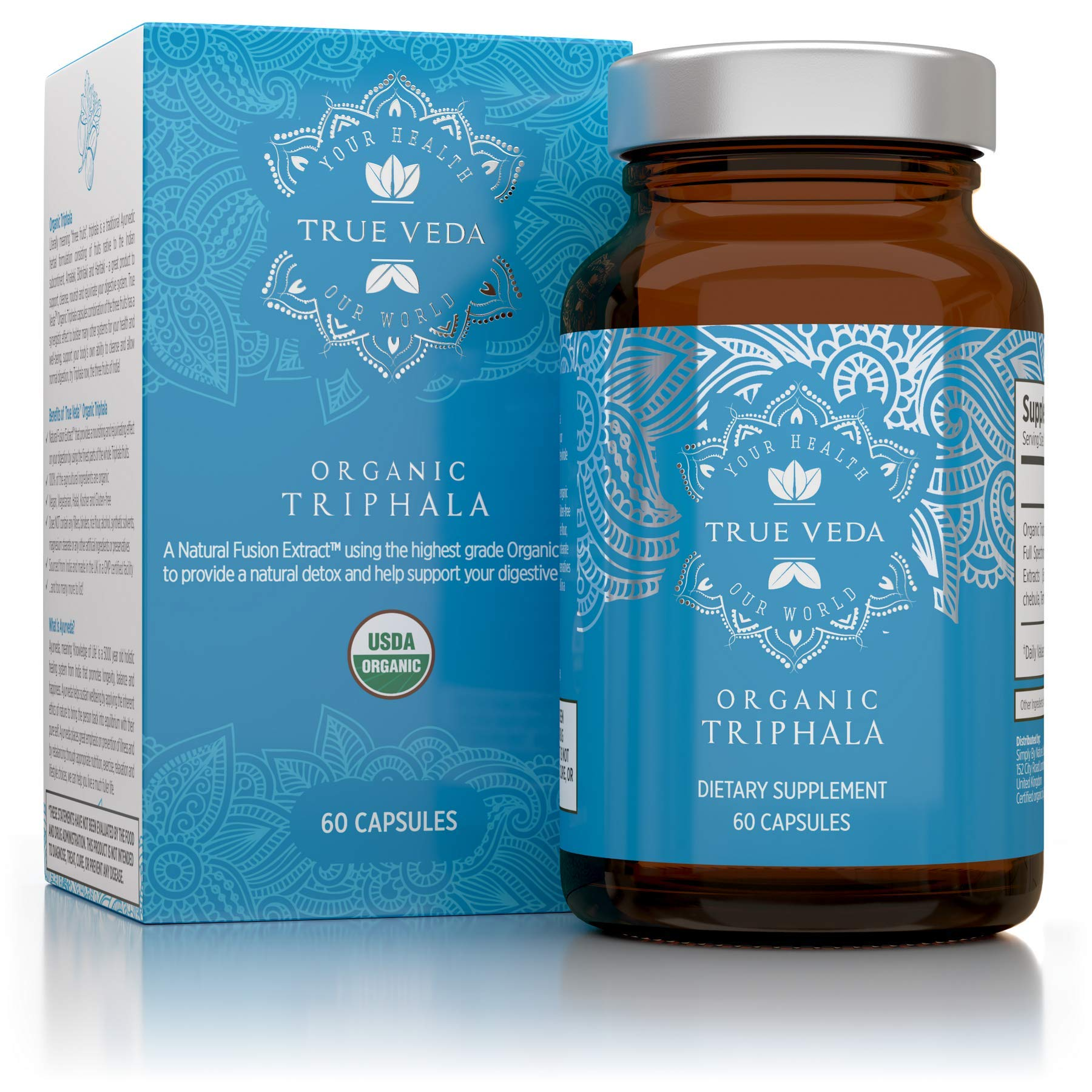 Organic Triphala Veggie Capsules – USDA Organic Certified | 100% Natural Herbal Supplement | Supports Healthy Digestion | Natural Antioxidant | Ayurveda | 60 Easy Swallow Vegetarian Pills