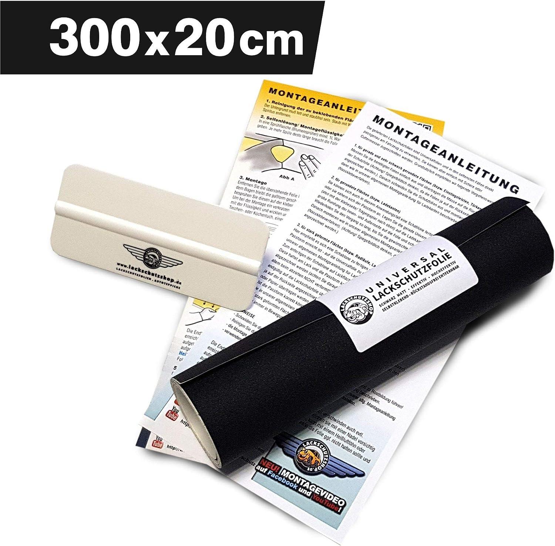 Lackschutzshop Lackschutzfolie Schutzfolie Klebefolie Schwarz Matt Universal 200x3000mm Selbstklebend 150µm Auto