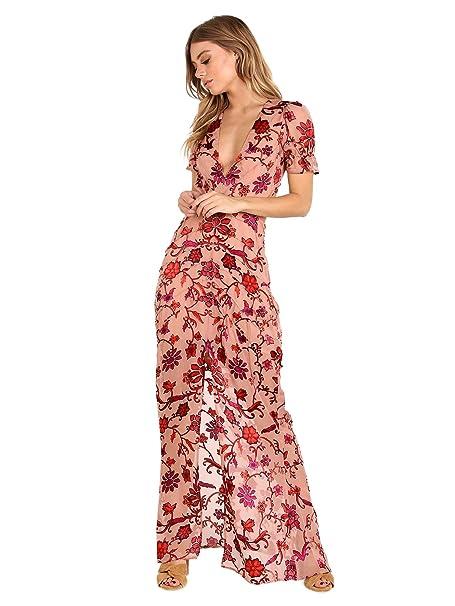 7408361a1f77 For Love & Lemons Saffron Maxi Dress Sunset Floral: Amazon.ca: Clothing &  Accessories
