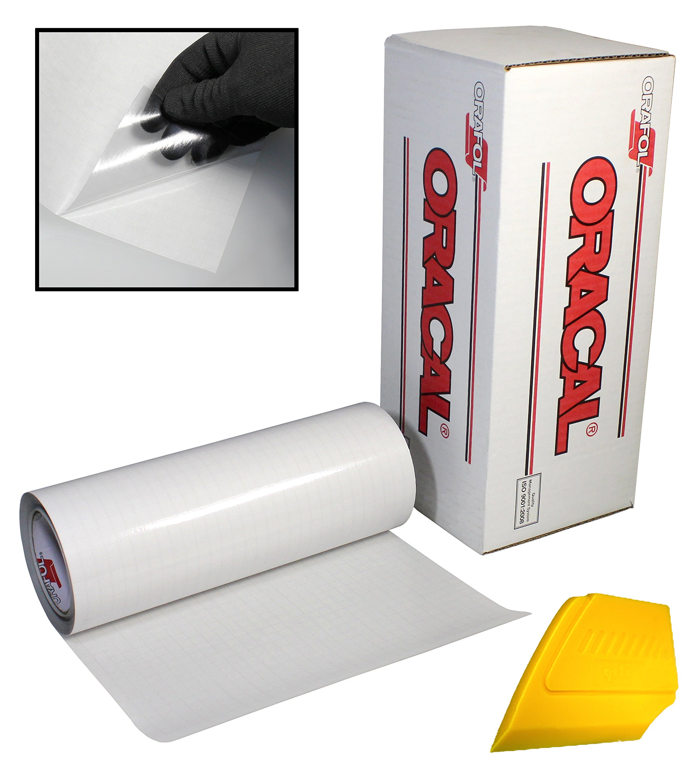 ORACAL Clear Transfer Paper Tape Roll w/Hard Yellow Detailer Squeegee (12'' x 150ft) by ORACAL