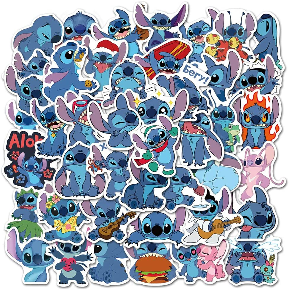50pcs Lilo & Stitch Cartoon Anime Stickers Vinyl Sticker for Laptop Water Bottle Guitar Bike Motorcycle Bumper Luggage Skateboard Graffiti, Cute Decals, Best Gift for Kids (Lilo & Stitch)
