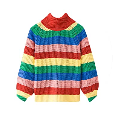 308d26898 Rainbow Stripe Turtleneck Sweater Women Pullovers Warm Knit Jumpers Loose  Oversized Colorful Sweaters