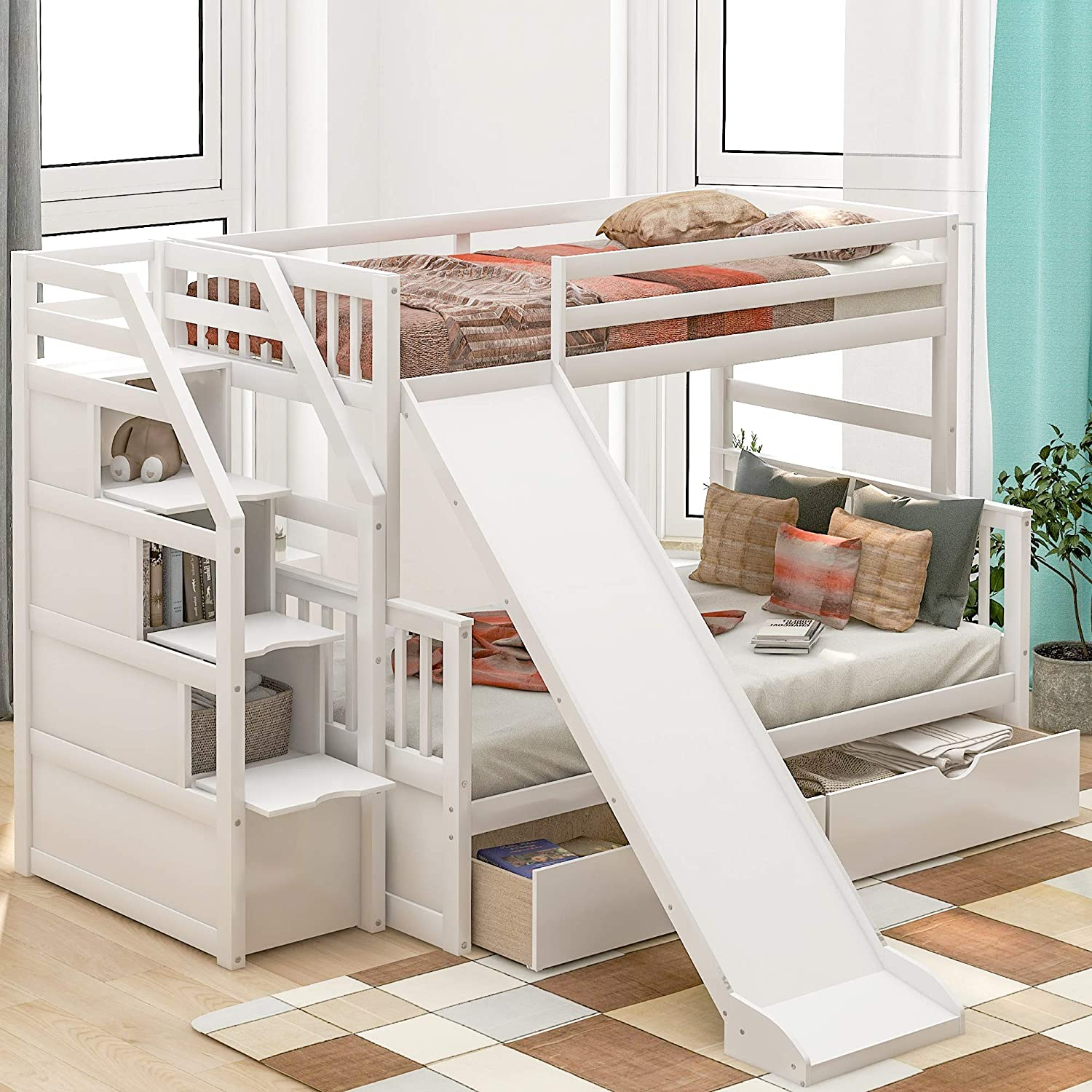 Amazon Com Twin Over Full Bunk Bed Frame For Kids Wood Twin Over Full Bunk Bed With Slide Stairs And 2 Storage Drawers White Kitchen Dining