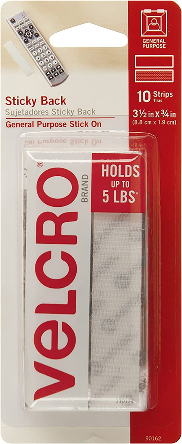 "Velcro Thin Clear 3.5/"" x 3//4/"" Strip 4 Pack Sticky Fastener Tape Hook /& Loop NEW!"