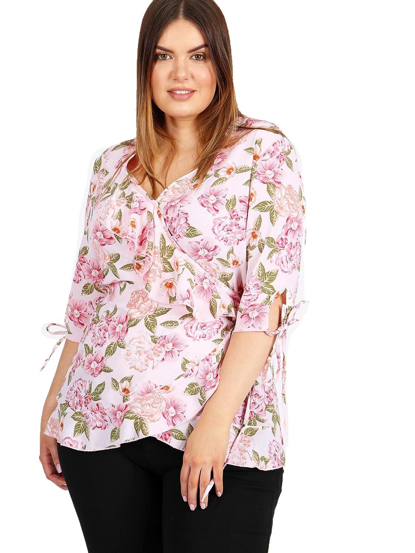 9d68c7377f14e Lovedrobe GB Women s Plus Size Pink Floral Print Wrap Top  Amazon.co.uk   Clothing