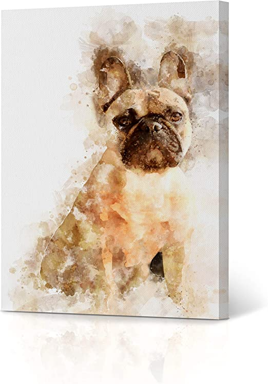 French Bulldog Cute Puppy Poster Wall Art Print Card or Canvas