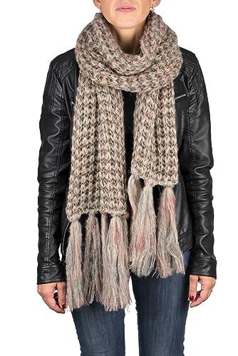 Lancioni 1973, bufanda en mixto lana con inclusiónes multicolor y flecos (remallada a mano), color b...
