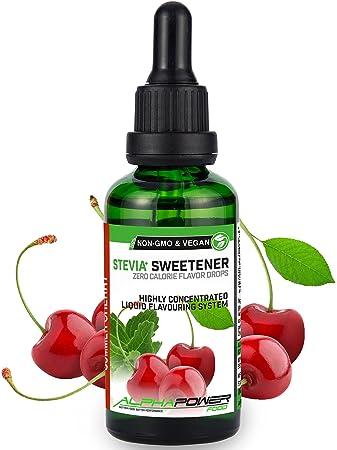 ALPHAPOWER FOOD® Stevia Flavour Drops, Vegan, flüssig - liquid 1x50ml Aroma  Kirsche, Lebensmittel flavor Konzentrat & Geschmackstropfen - Flave ...
